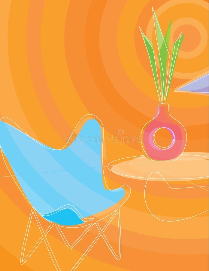 intérieur à la maison stylisé Rétro-inspiré illustration stock