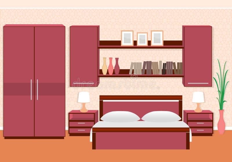 Intérieur élégant de chambre à coucher avec des meubles, étagères, photoframes illustration de vecteur