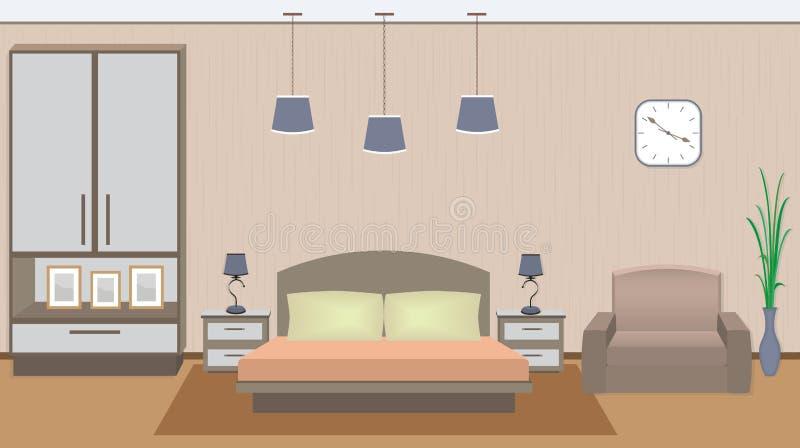 Intérieur élégant de chambre à coucher avec des meubles, plante d'intérieur, photoframes illustration libre de droits