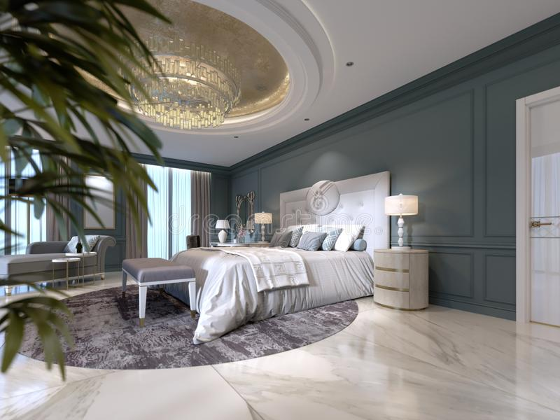 Intérieur élégant de chambre à coucher avec le grand lit confortable et sofa avec la coiffeuse et l'usine illustration libre de droits