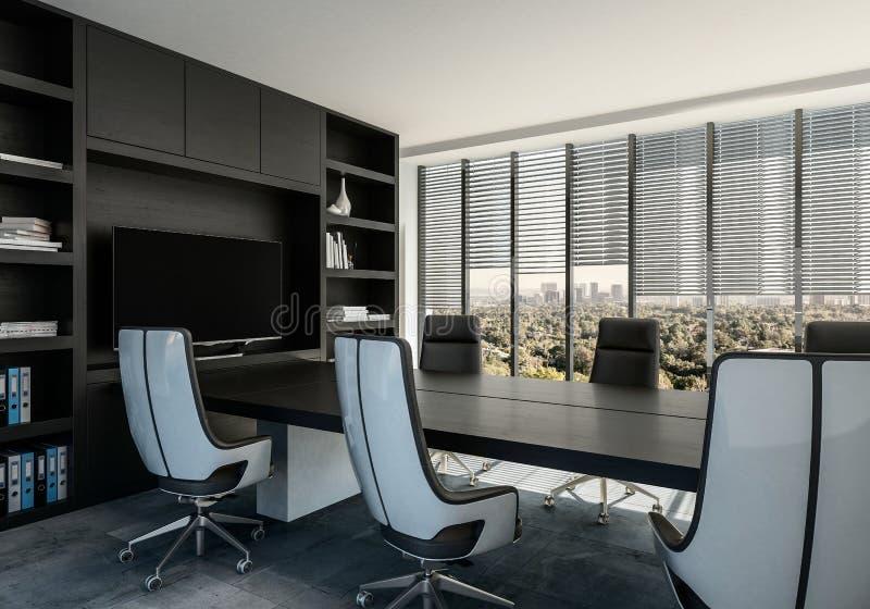 Intérieur élégant de salle de réunion avec les chaises modernes illustration de vecteur