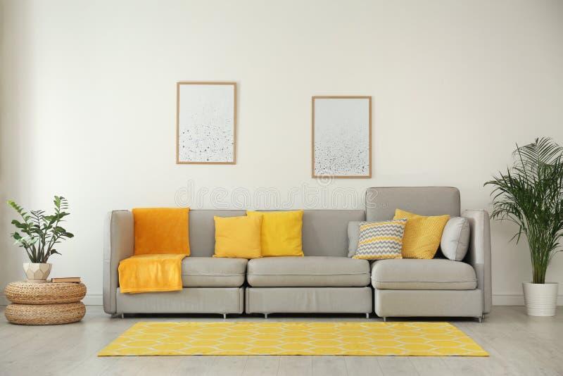 Intérieur élégant de salon avec le sofa gris photo libre de droits