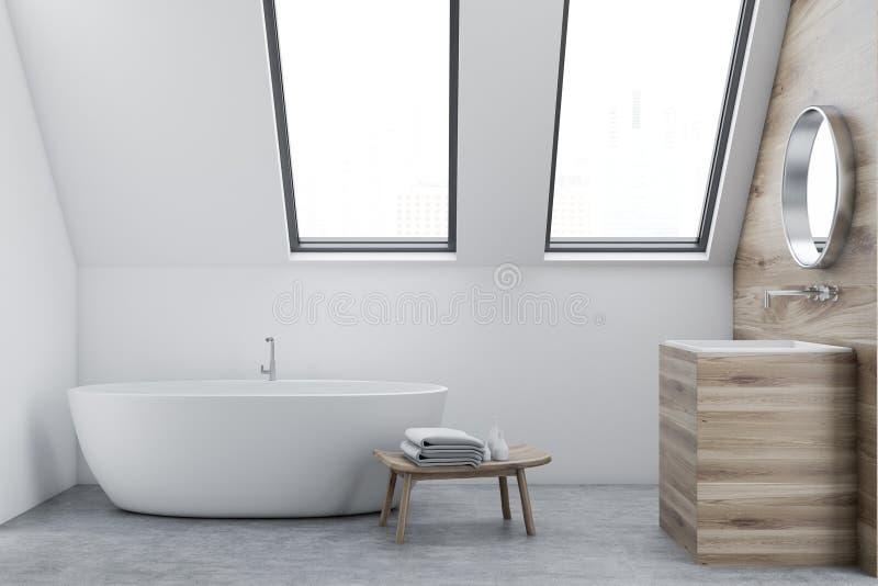 Intérieur, évier et baquet blancs de salle de bains de grenier illustration de vecteur