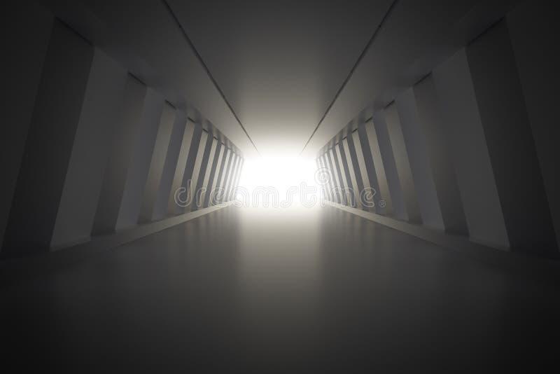 Intérieur abstrait de couloir avec la lumière l'illustration 3d rendent illustration de vecteur
