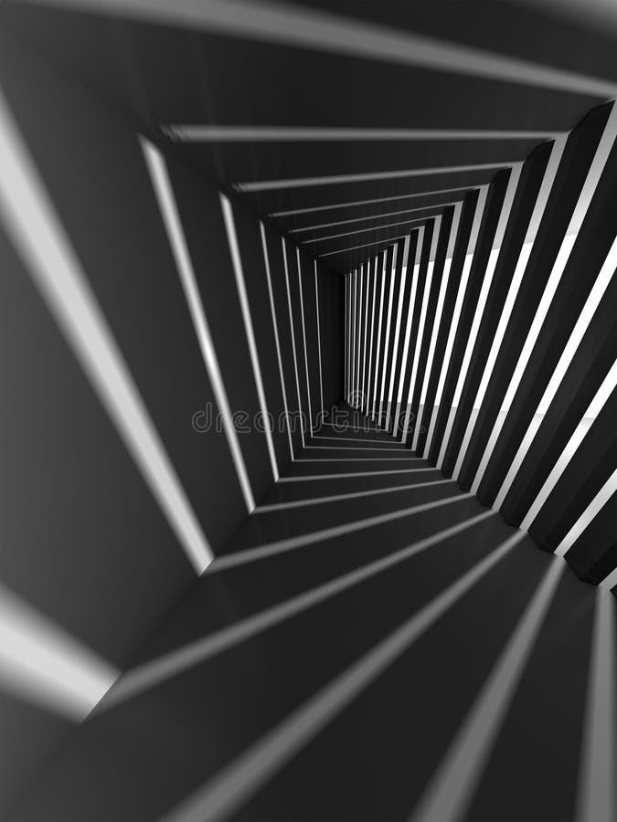 Intérieur abstrait de l'obscurité 3d avec les faisceaux lumineux illustration stock