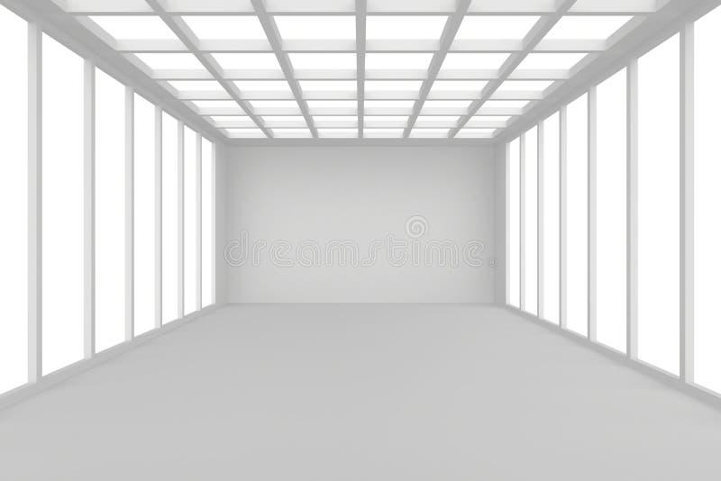 Intérieur abstrait de pièce blanche d'architecture avec des murs et plafond de fenêtre, sans toutes textures, rendu 3d illustration de vecteur