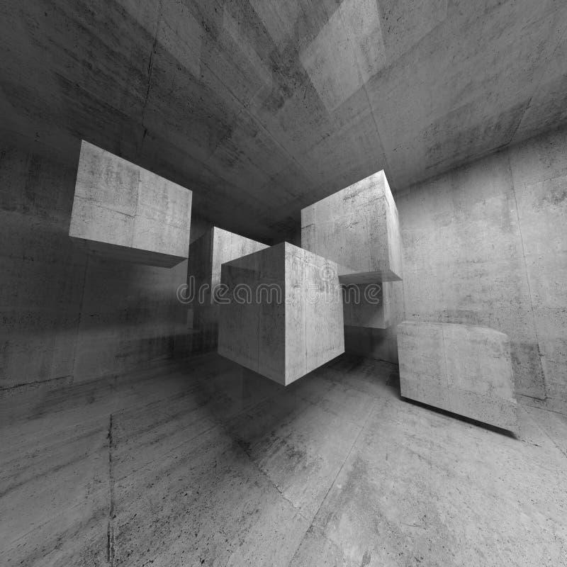 Intérieur abstrait du béton 3d avec des cubes illustration de vecteur