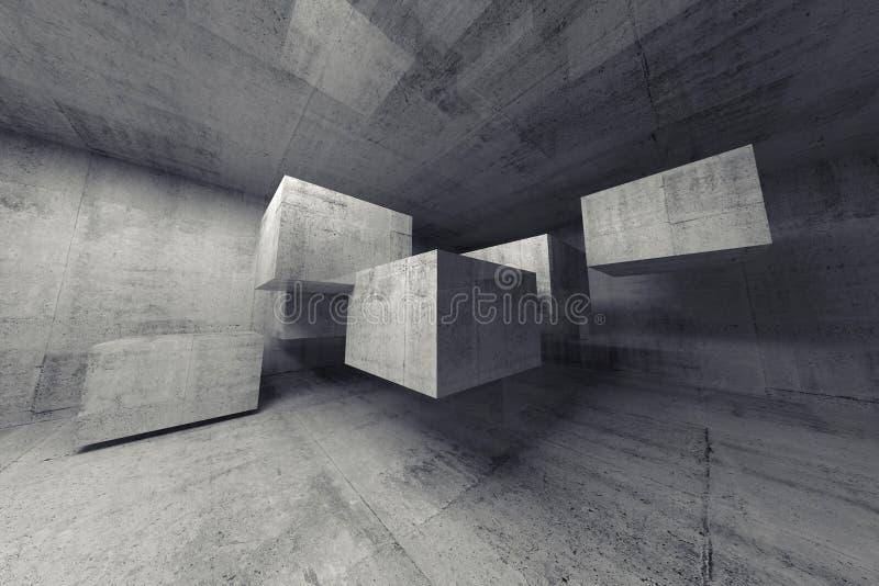 Intérieur abstrait du béton 3d avec des cubes en vol illustration de vecteur