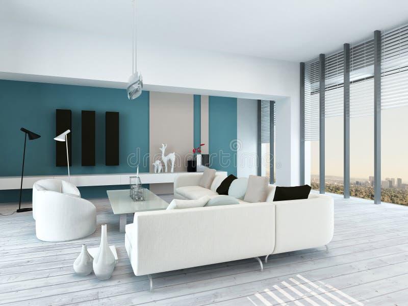 Intérieur assez bleu et blanc de salon illustration libre de droits