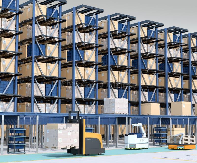 Intérieur automatisé moderne du ` s de centre de logistique illustration libre de droits