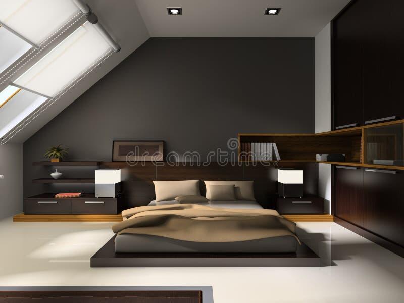 Intérieur aux chambres à coucher illustration de vecteur
