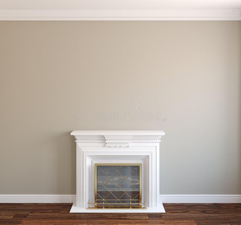 Intérieur avec la cheminée. illustration stock