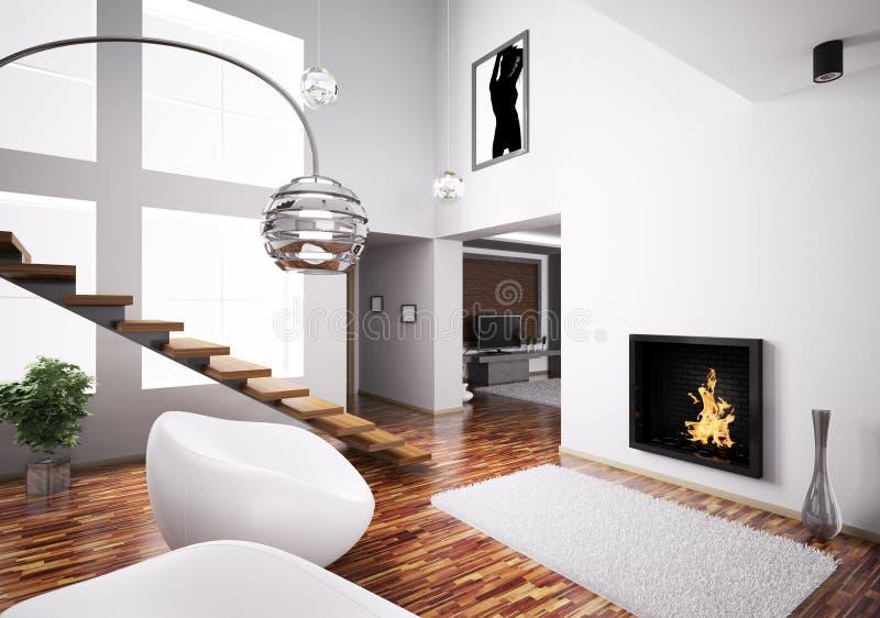Intérieur avec la cheminée et l'escalier 3d illustration de vecteur