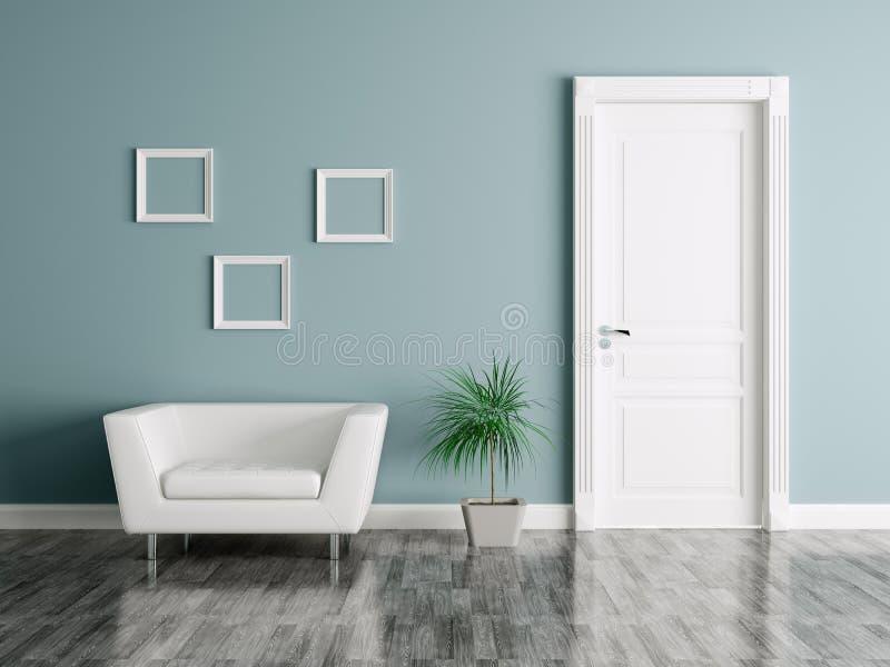 Intérieur avec la porte et le fauteuil illustration stock