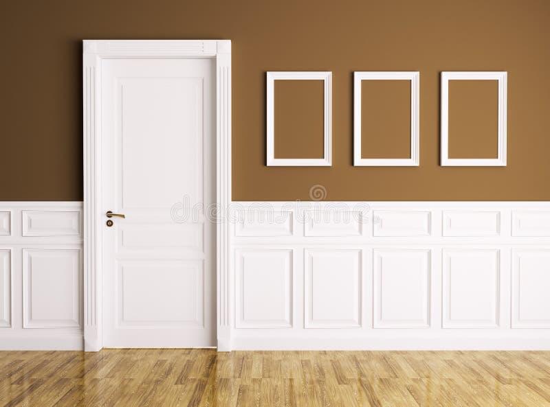 Intérieur avec la porte et les cadres illustration de vecteur