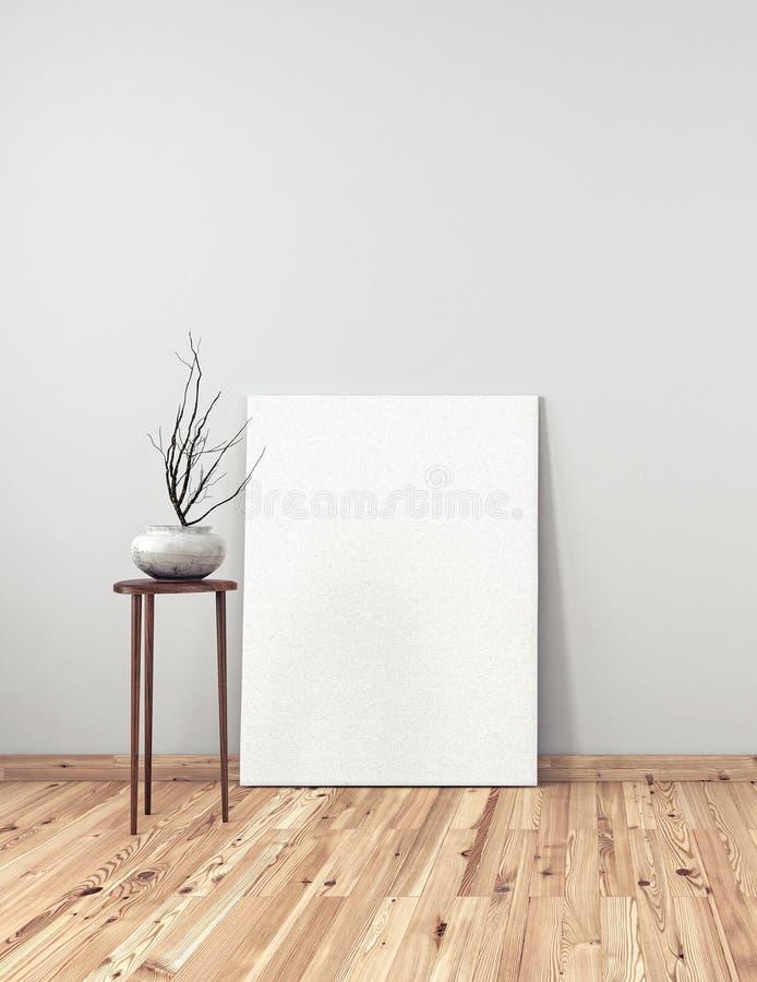 Intérieur avec le décor et le cadre blanc vide illustration stock