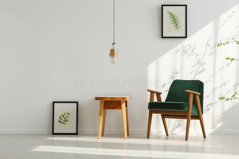 Intérieur avec le fauteuil vert image libre de droits