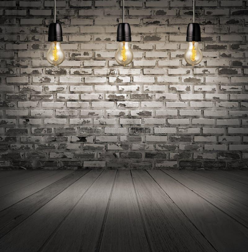 intérieur avec le mur de briques blanc et le plancher et le classique en bois Edis photographie stock