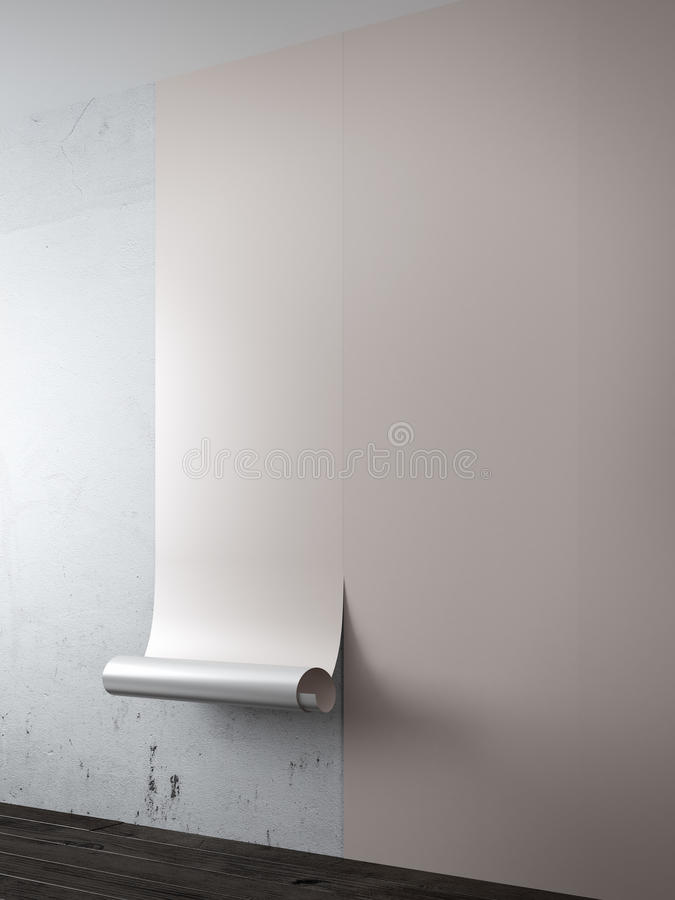 Intérieur avec le papier peint brun illustration libre de droits