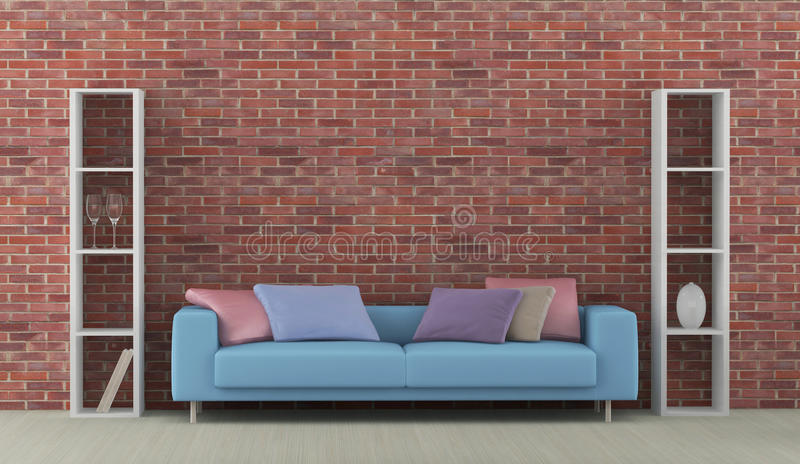 Intérieur avec le sofa bleu