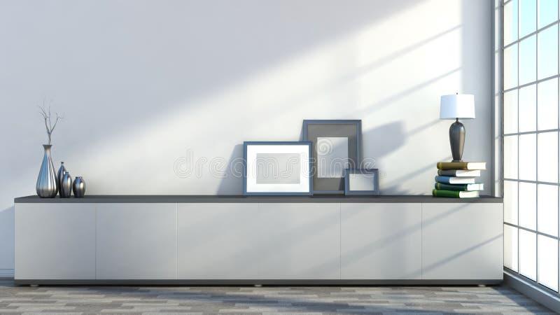 Intérieur avec les photos, les vases et les lampes vides sur les livres illustration libre de droits