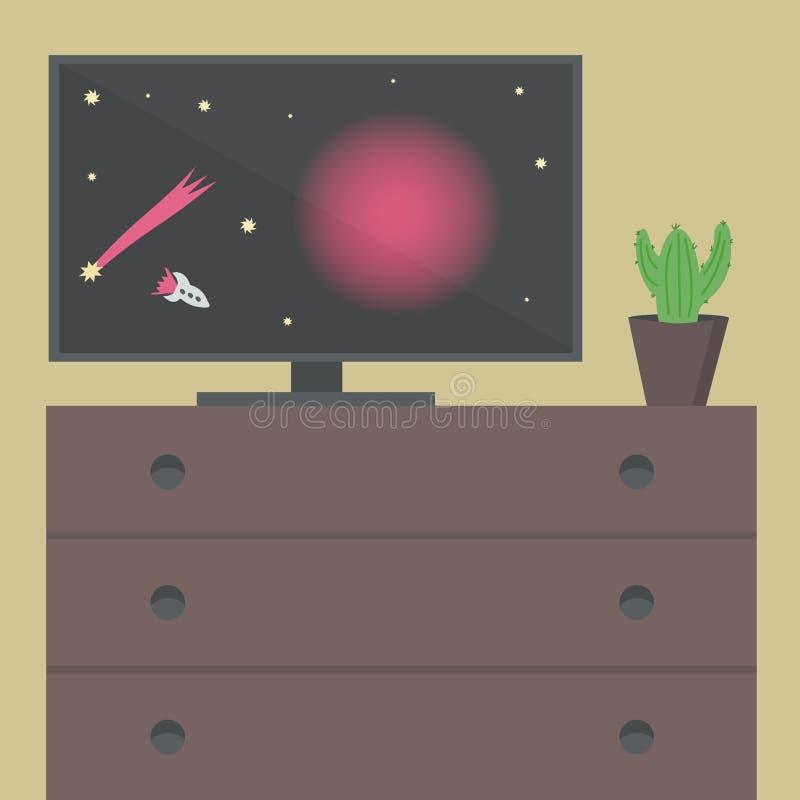 Intérieur avec une TV et un bureau L'espace à TV, cactus sur la table illustration libre de droits