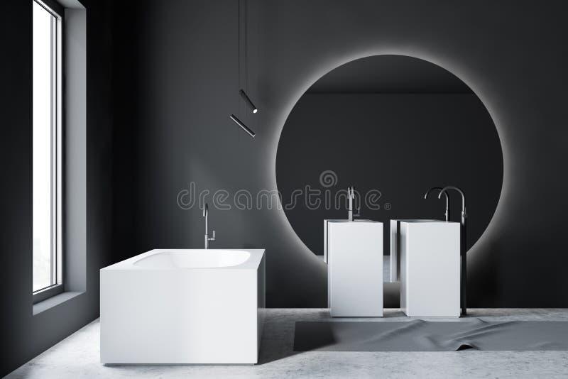 Intérieur, baignoire et évier gris de salle de bains illustration de vecteur