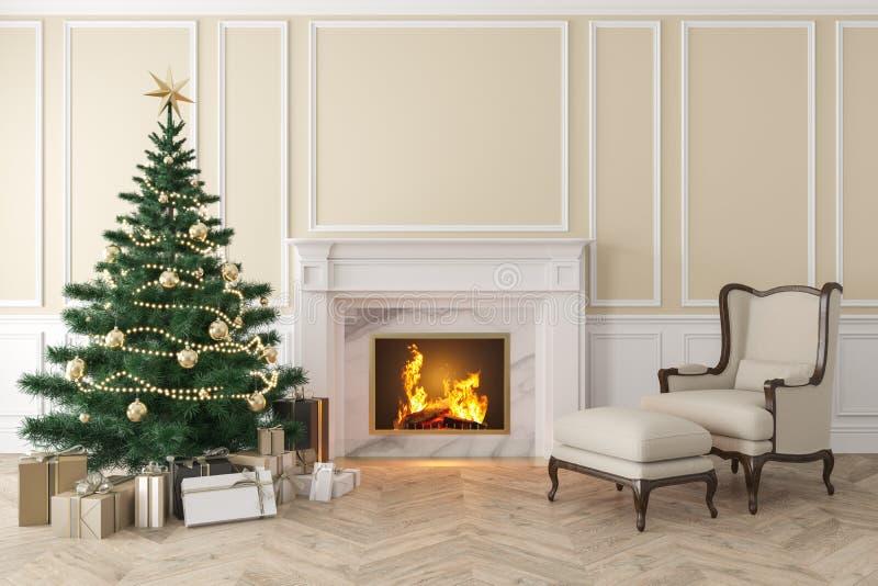 Intérieur beige classique avec l'arbre de Noël, cheminée, fauteuil de salon illustration libre de droits