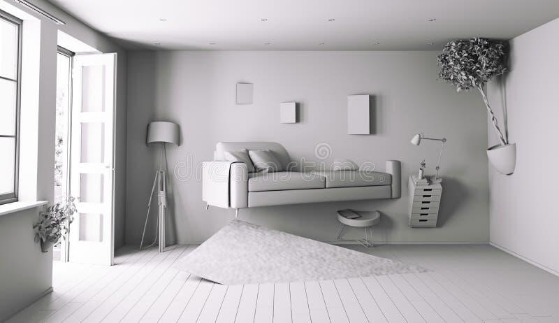 Intérieur blanc illustration stock