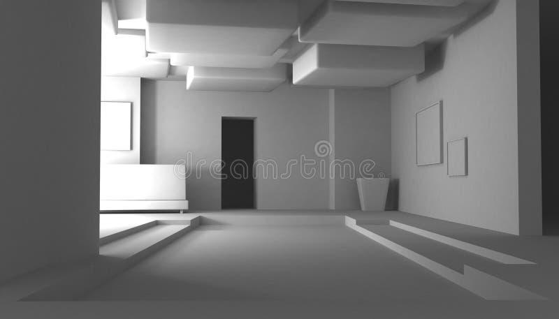 Intérieur blanc, abstrait illustration stock