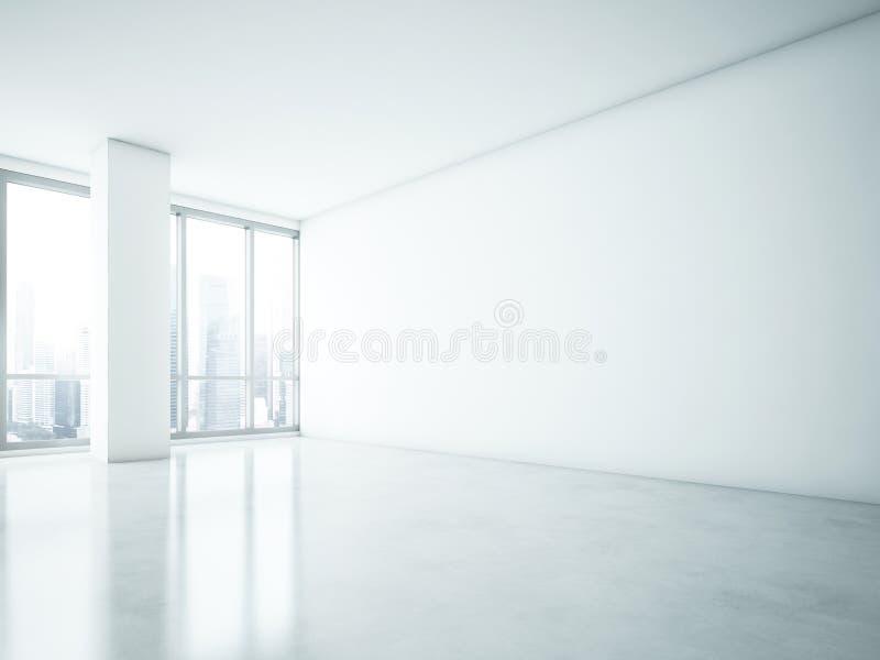 Intérieur blanc avec le grand mur vide photographie stock libre de droits