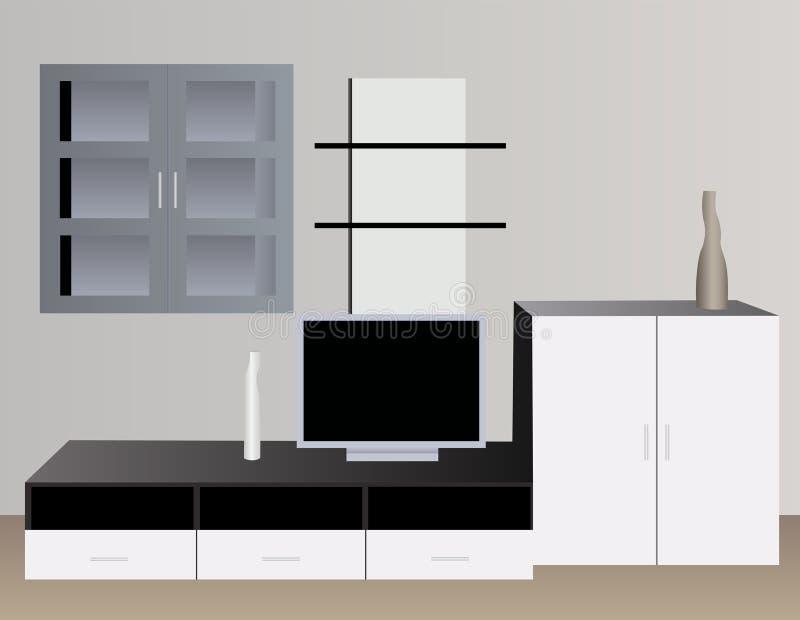 Intérieur blanc avec le vecteur de TV illustration de vecteur