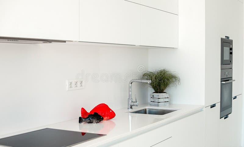 Intérieur blanc Conception intérieure de Minimalistic Fourrure moderne photos libres de droits