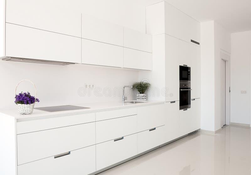 Intérieur blanc Conception intérieure de Minimalistic Fourrure moderne photos stock