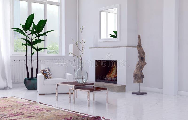Intérieur blanc confortable de salon avec la cheminée illustration stock