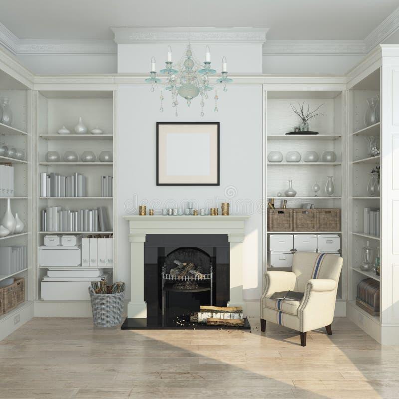 Intérieur blanc d'hiver, cheminée, livres 3d rendent image stock