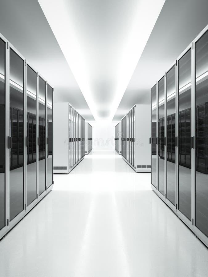 Intérieur blanc de centre de traitement des données illustration de vecteur