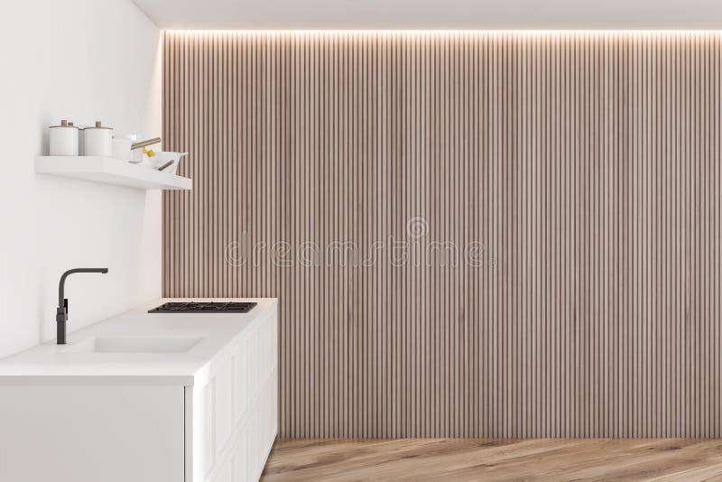 Intérieur blanc de cuisine de conception moderne avec la lumière de fenêtre 3d rendent illustration de vecteur