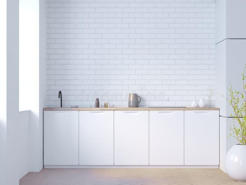Intérieur blanc et noir de cuisine de brique avec les dessus de table blancs et une usine mise en pot près du mur illustration du illustration stock