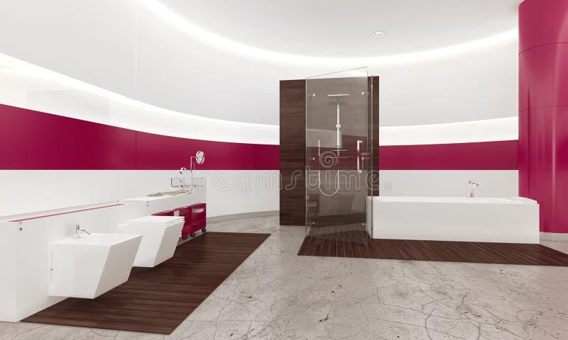 Intérieur Blanc Et Rose Contemporain Moderne De Salle De Bains