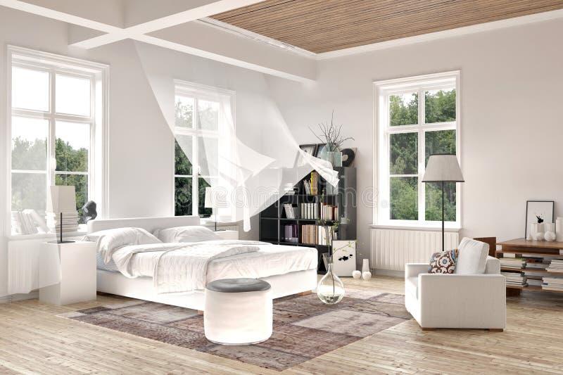 Intérieur blanc lumineux de chambre à coucher avec le rideau de soufflement illustration stock