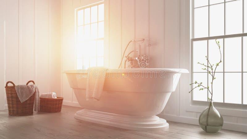 Intérieur blanc moderne de salle de bains avec la fusée du soleil illustration libre de droits