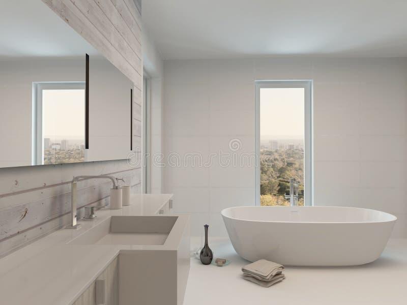 Intérieur blanc propre pur de salle de bains avec la baignoire illustration stock
