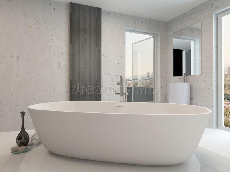 Intérieur blanc propre pur de salle de bains avec la baignoire illustration de vecteur
