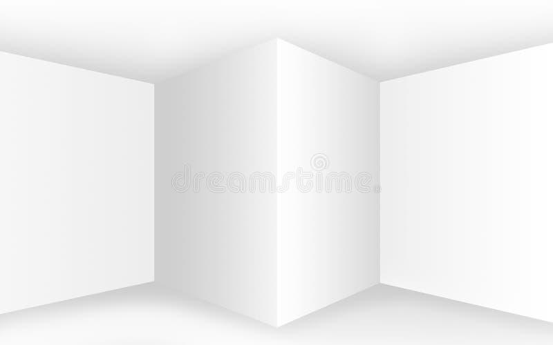 Intérieur blanc vide abstrait avec des coins et des murs vides illustration de vecteur