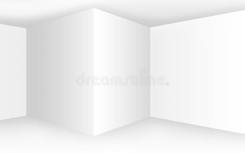 Intérieur blanc vide abstrait avec des coins et des murs vides illustration stock