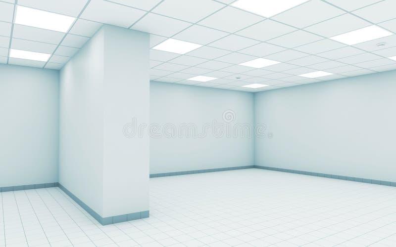 Intérieur blanc vide abstrait 3 d de pièce de bureau illustration de vecteur