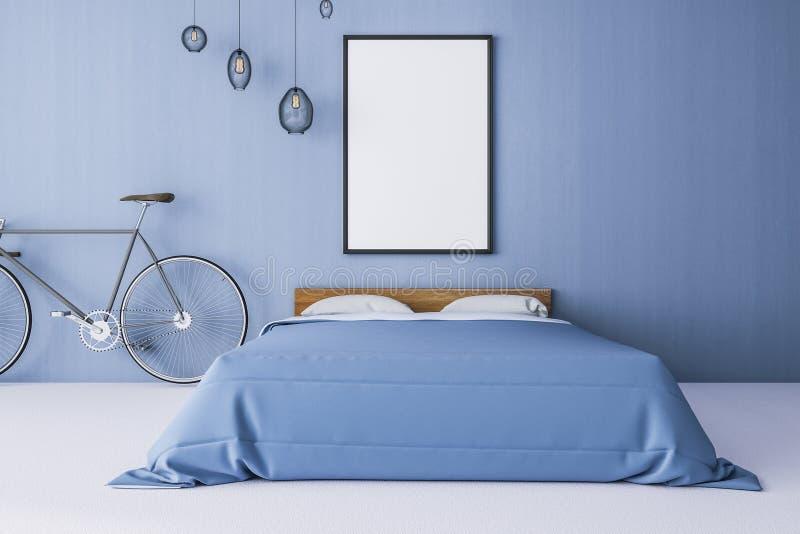 Int?rieur bleu contemporain de chambre ? coucher illustration stock
