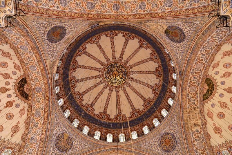 Intérieur bleu de mosquée photo stock
