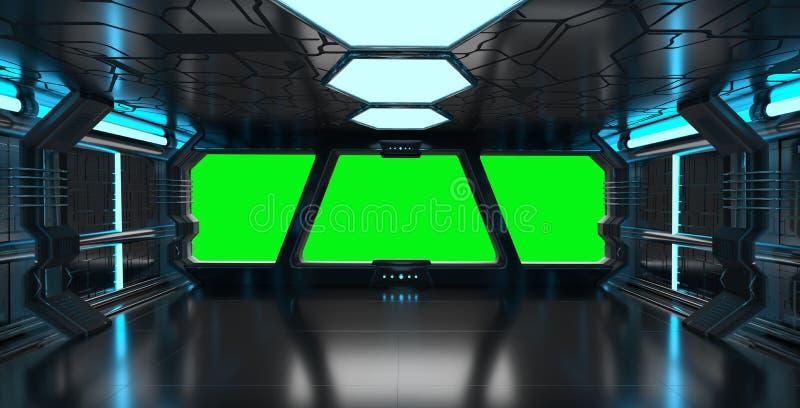 Intérieur bleu de vaisseau spatial avec les éléments vides de rendu de la fenêtre 3D illustration de vecteur